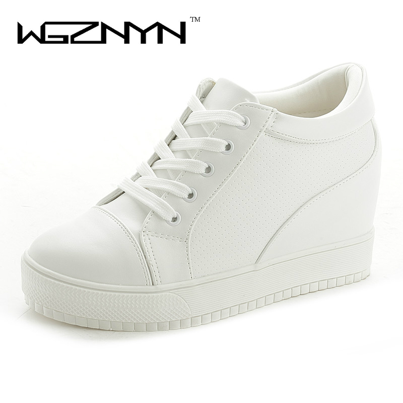 WGZNYN 2017 New Fashion Style PU Leather Women Shoes Increased Internal Ladies Shoes White Black High QualityWGZNYN 2017 New Fashion Style PU Leather Women Shoes Increased Internal Ladies Shoes White Black High Quality