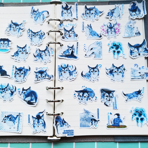 4packs 160 pces bonito lobo bebe dos desenhos animados a prova dwaterproof agua adesivo caderno