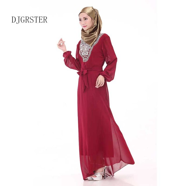 DJGRSTER Femmes de Maxi À manches Longues Robe longue Caftan marocain Caftan  Jilbab Islamique abaya Musulman e7ed9fd1b3c
