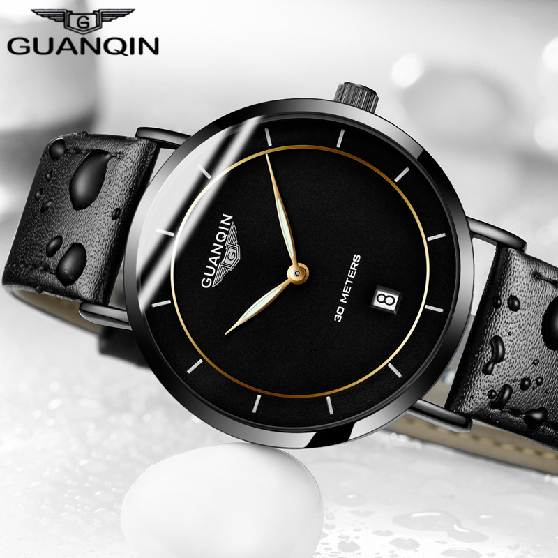Mens Watches Top Brand Luxury GUANQIN Simple Design Ultra Thin Quartz-Watch Men Casual Leather Male Watches Relogio Masculino колье coeur de lion 4737 10 0600