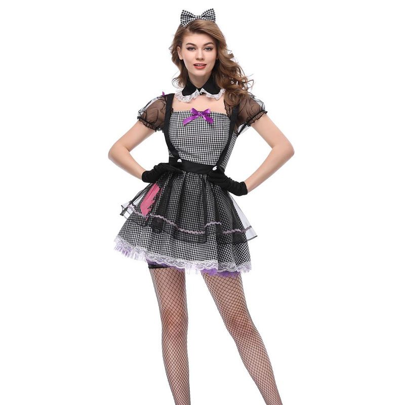6ddb1423b Adult Women Halloween Gothic Vampire Cat Women Costume Short Plaid Lace  Dress Circus Clown Cosplay Party