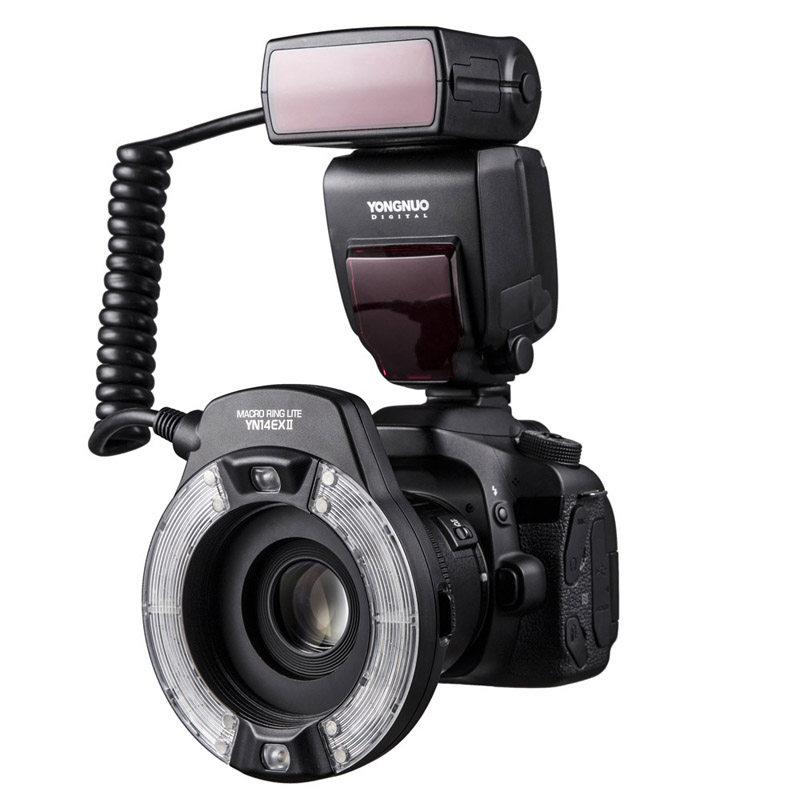 Yongnuo YN14EXII drugiej generacji pierścień lampa błyskowa do makrofotografii pierścień migający Canon TTL gorąca lampka na buty w Lampy błyskowe od Elektronika użytkowa na  Grupa 1