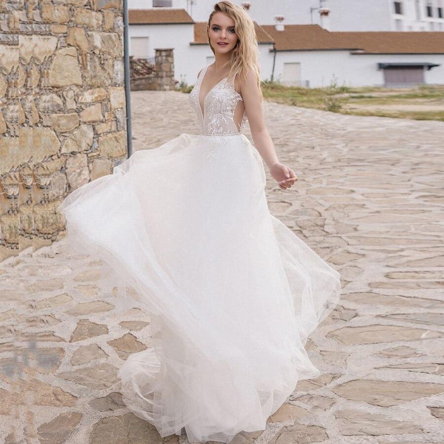 ADLN Cheap Sexy V neck Wedding Dresses Sleeveless Open Back Applique Tulle Bridal Gowns Beach Wedding