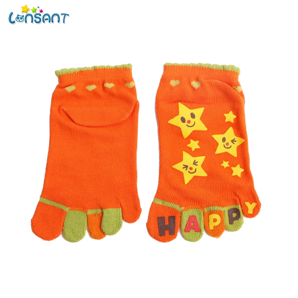 LONSANT Girls With Star Kids Girls Boy Cartoon Animal Five Fingers Anti Slip Cotton Socks Toddler Baby Kids Girls Boy Socks