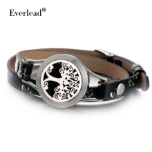 Everkead Real Leather Tree of life Bracelets wrap twist silver color lockets Essential Oil Diffuser Aromatherapy Locket Bracelet