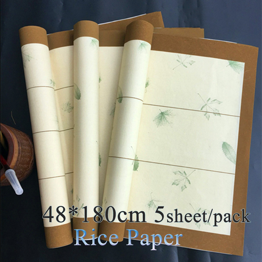 48*180cm Archaistic Chinese Rice paper for Painting Calligraphy Maple leaves pattern xuan paper Painting supply archaistic chinese rice paper cardboard for gongbi painting calligraphy blinding notebook painting canvas paperboard
