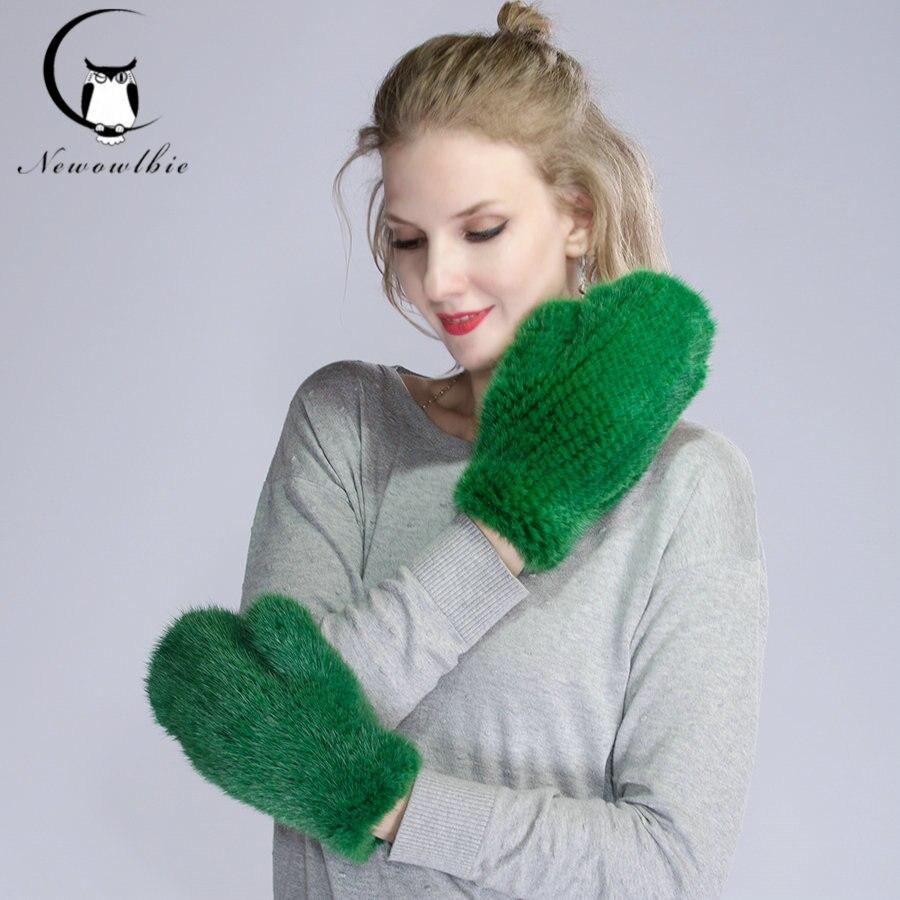 2019 women real mink fur Gloves lovely ladies genuine mink fur gloves warm gloves knitted mink