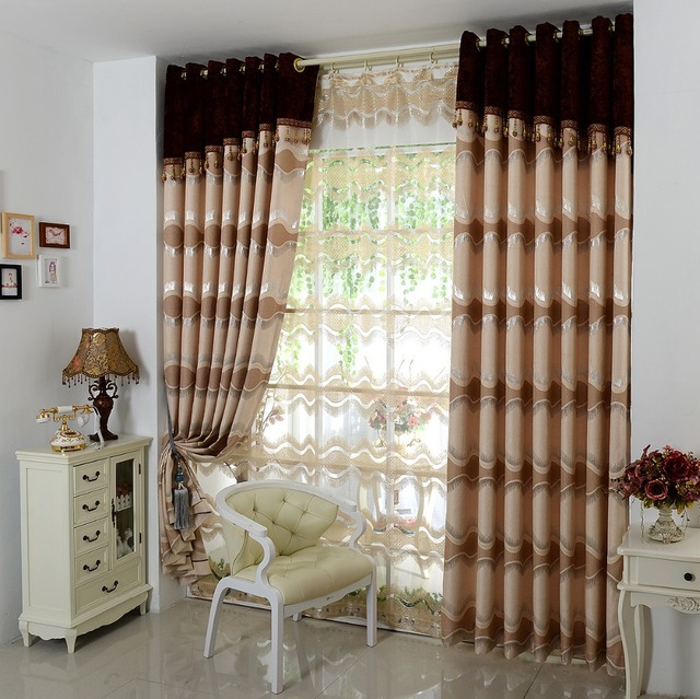European high grade thick brown curtains living room bedroom windows ...