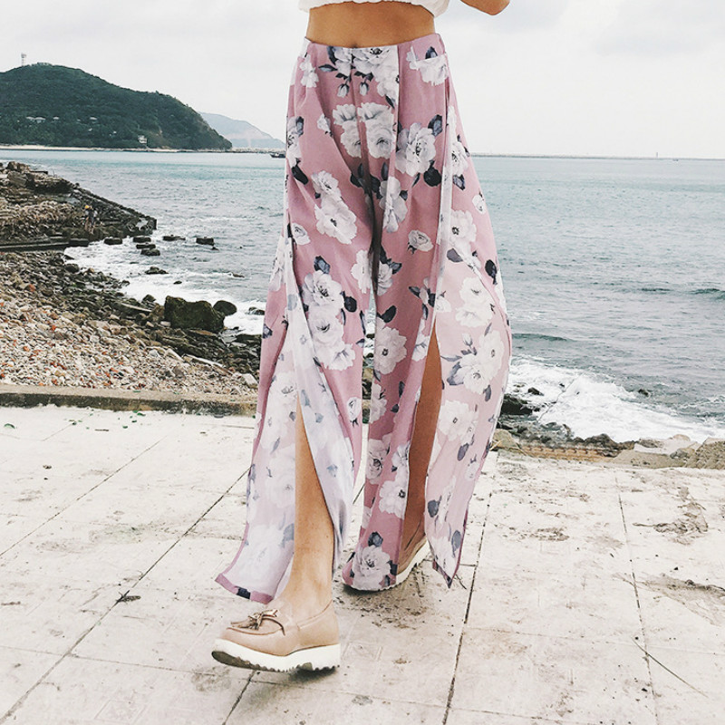 Women's Summer Skirt   Pants   Floral Printing Sexy High Waist Split for Large Size Loose Chiffon Casual   Wide     Leg     Pants   Pink Color