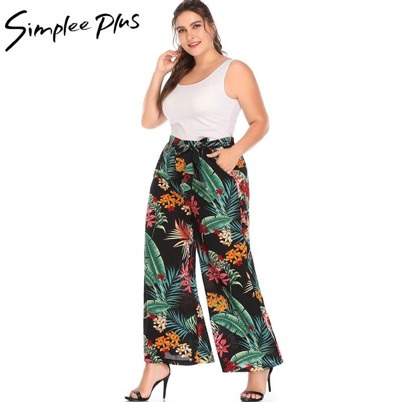 Simplee Plus Flare Printed wide leg   pants   women Autumn Plus size 5XL   pant   Chic streetwear sash casual female   pants     capris   casual