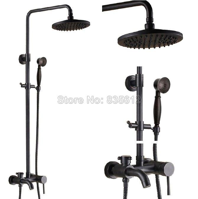 Oil Rubbed Bronze 8 Rain Shower Faucet Bathtub Mixer Tap Shower Column Set With Hand Sprayer Brs341