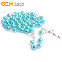 Gem Inside Natural Shell Beaded Jesus Cross Rosary Catholic Protestant Episcopal Prayer Rosaries Beads Necklace For