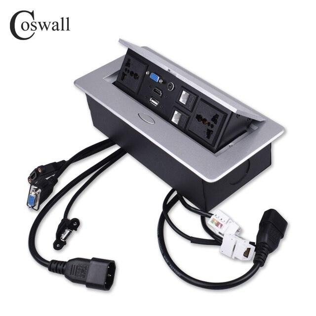 COSWALL metalowy korpus powolne wyskakujące ukryte 2 uniwersalne gniazdo zasilania gniazdo stołowe podwójny Port CAT6 RJ45 + HDMI + USB + VGA + 3.5mm Audio