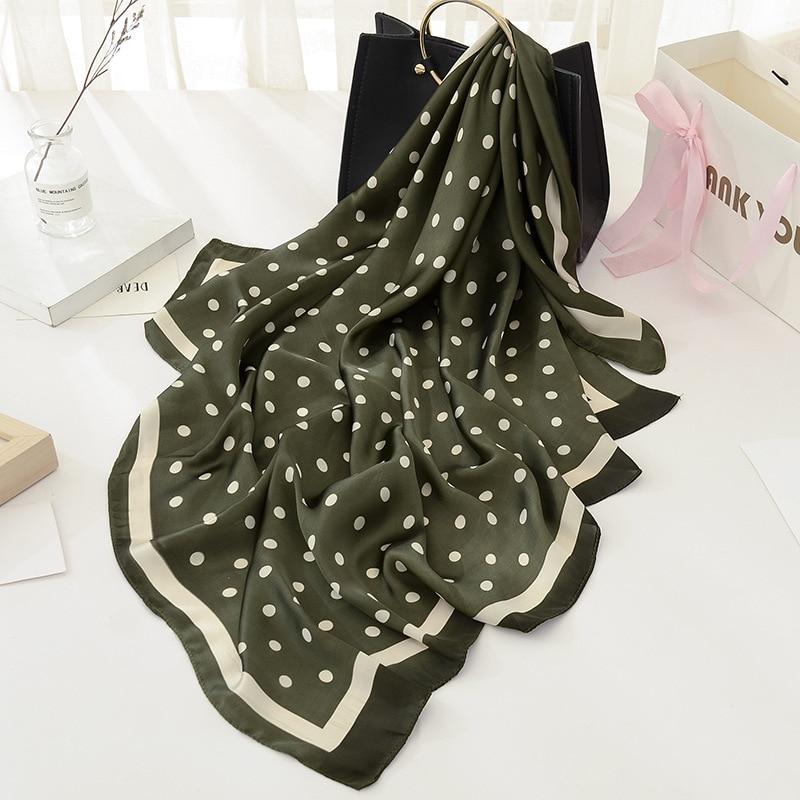 Peacesky New Hot Sale Women Scarf 100% Silk Feeling Shawl Scarf Foulard Dots Print Square Head Scarves Wraps 2017 NEW 90x90cm
