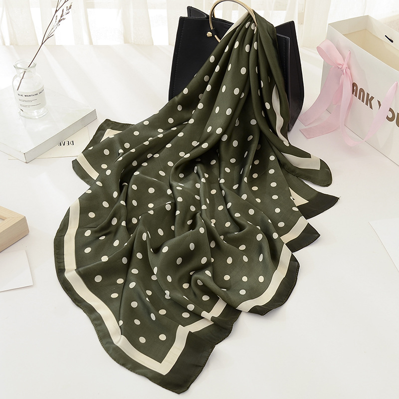 Peacesky New Hot Sale Women   Scarf   100% Silk Feeling Shawl   Scarf   Foulard Dots Print Square Head   Scarves     Wraps   2017 NEW 90x90cm