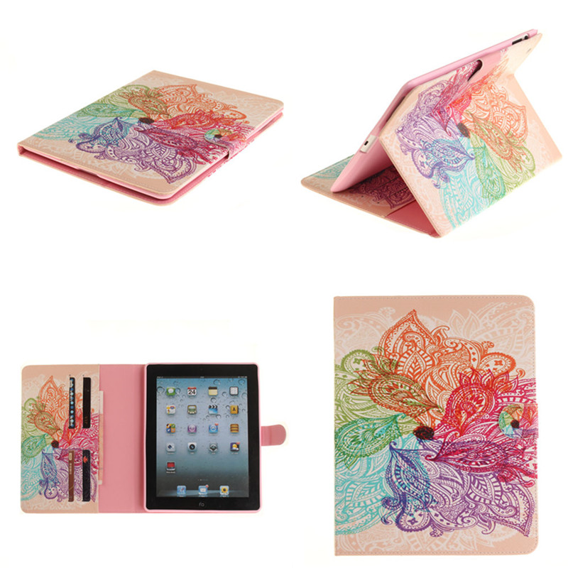 TX Stand Flip For Apple Ipad  2 3 4 tablet Covers PU Leather+Silicon Fashion Lovely  Flower OWI Style Case For Ipad2 ipad3 ipad4  2016 new tablet case for apple ipad 4 3 2 flip stand alice in wonderland