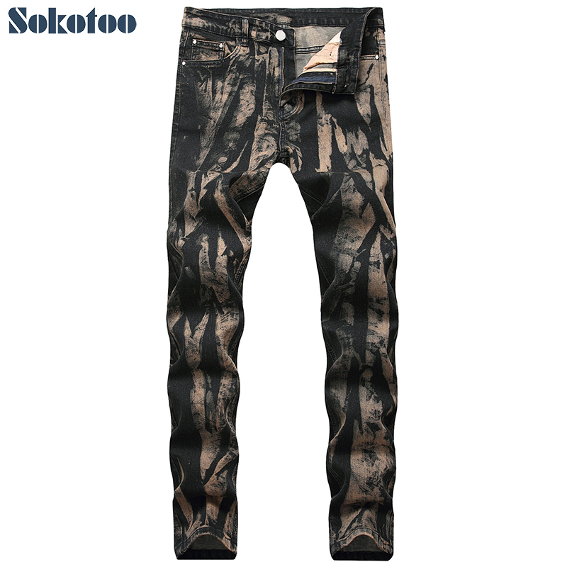 Sokotoo Men's Tie Dye Slim Skinny Jeans Plus Large Size Stretch Denim Pencil Pants