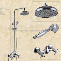 Настенные 8 Дождь Ванная комната Душ Набор кран хром двойной ручкой душ горячей и холодной краны с Handshower Kcy305