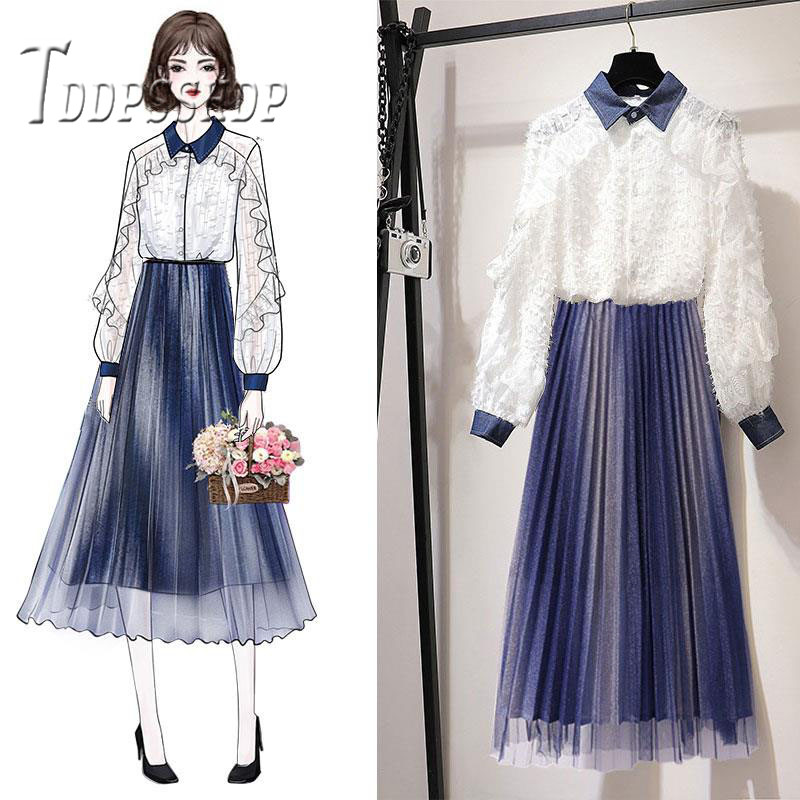 2019 Spring Fairy Women Sets White Blouse and Pleated Skirt Female Sets