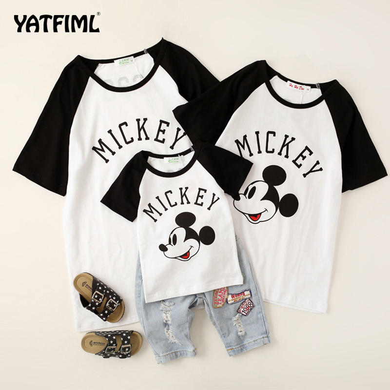 YATFIML Mother Mom And Daughter Father And Son Mickey T-Shirts Family Look Mommy And Me Clothes Quality Cotton Summer Style