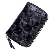 Weduoduo Brand Women Credit Card holder Genuine Leather Men Business ID Holder Fashion Mini Zipper Bank Cases Wallets