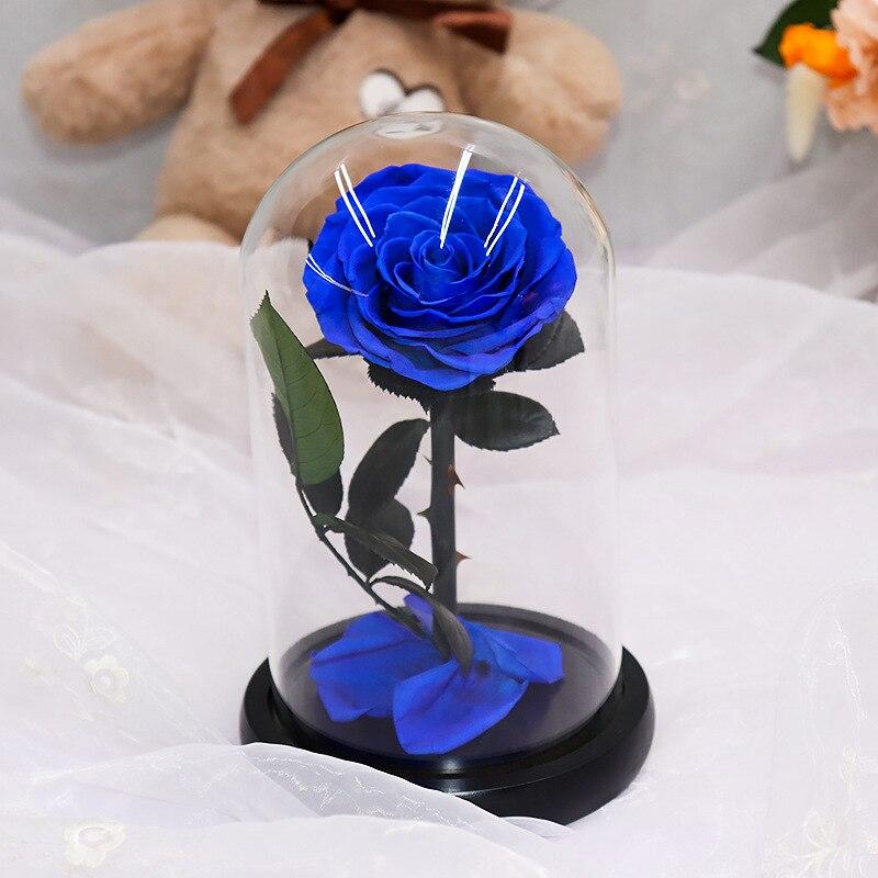 Красавица и Чудовище красная роза в стеклянном куполе на деревянной основе подарок на день Святого Валентина украшение стола вечный цветок - Цвет: Blue