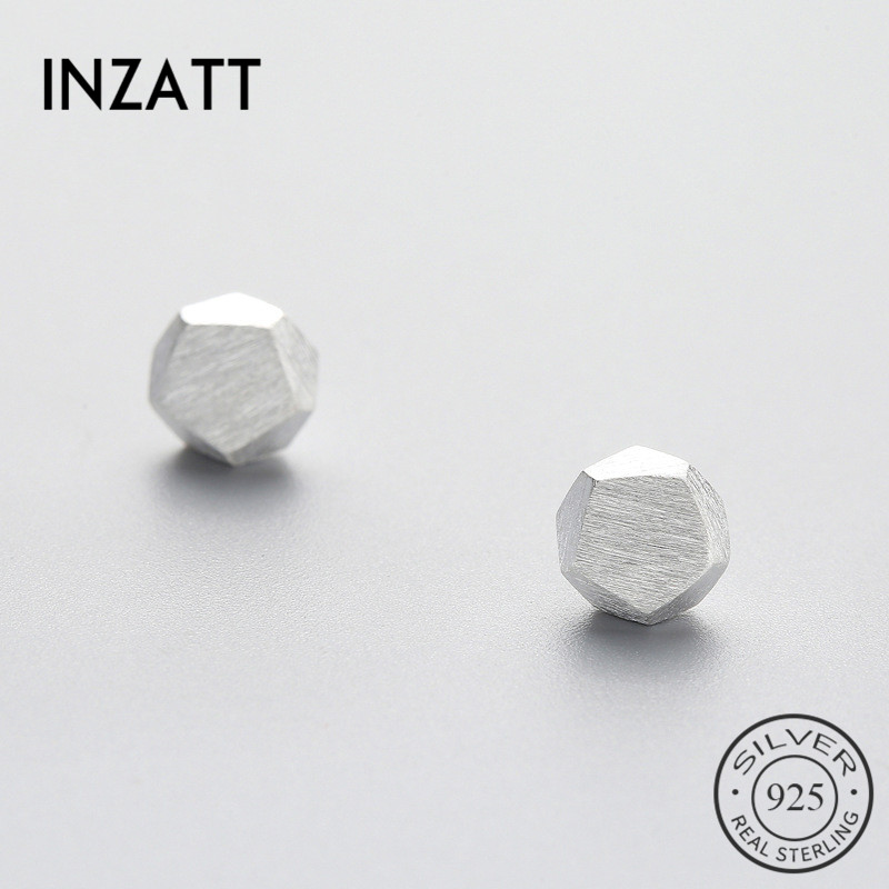 INZATT Sporty 100% 925 Sterling Silver Hammer Shape Stud Earrings For Young Women Casual  Geometric Jewelry Accessories Gifts