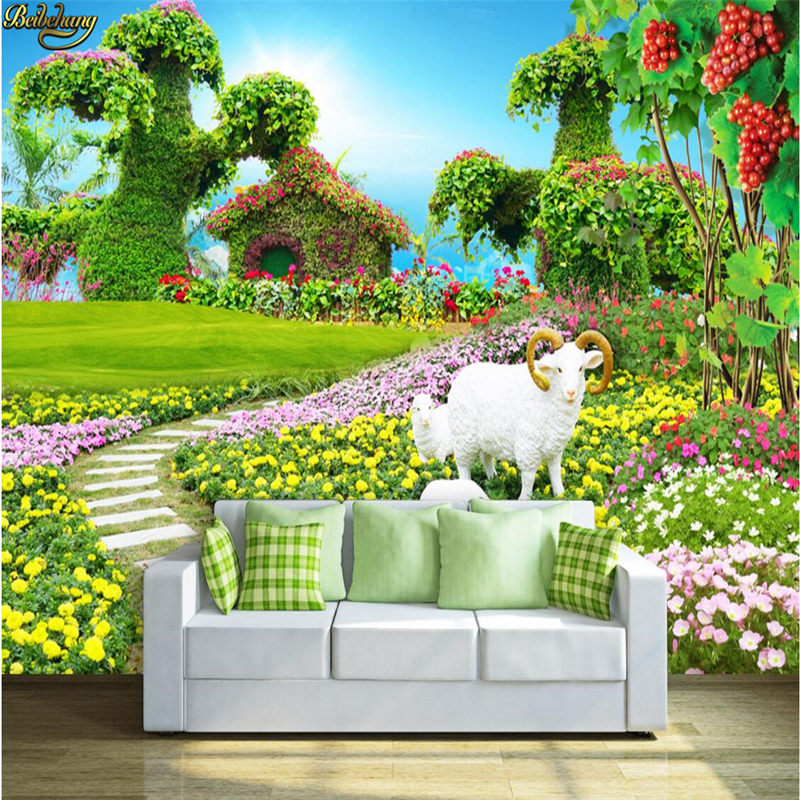 beibehang Custom Photo Wallpaper Mural Fresh Flower Garden Little Sheep 3D TV Wall papel de parede wall paper xchelda custom modern luxury photo wall mural 3d wallpaper papel de parede living room tv backdrop wall paper of sakura photo