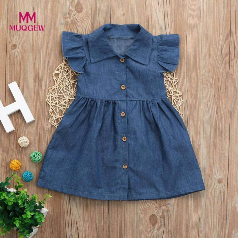 Toddler Infant dress Baby Girls Dress Solid Princess Denim Dresses Outfits Button Up Collar Sleeveless dress Clothes robe pour