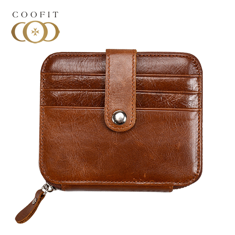 Coofit Unisex Vintage Zipper Wallet Men Women Genuine Leather Coin Purse Small Bank Card Holder Clutch Wallet With Snap Closure цены онлайн