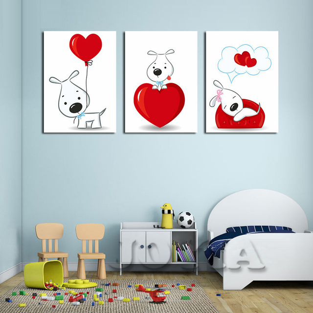 Piece Wall Pictures Cute Cartoon Dogs Canvas Art Love Heart
