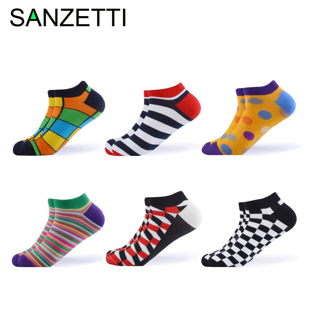 SANZETTI 6 Pairs/Lot Men 2019 Summer New Ankle   Socks   Casual Combed Cotton   Socks   Colorful Plaid Animal Fruit Pattern Boat   Socks