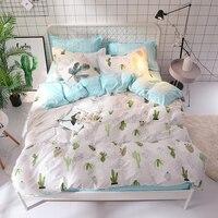Cartoon Cactus Pattern Bedding Set 3/4pcs/Set King Queen Double Single Size Duvet Cover Flat Sheet Pillowcases Cover Set Soft