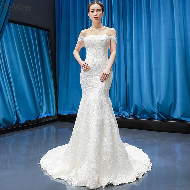 d8a26136f32 Роскошные свадебное платье-русалка элегантные белые свадебные платья с вырезом  лодочкой es 2019 Новое поступление