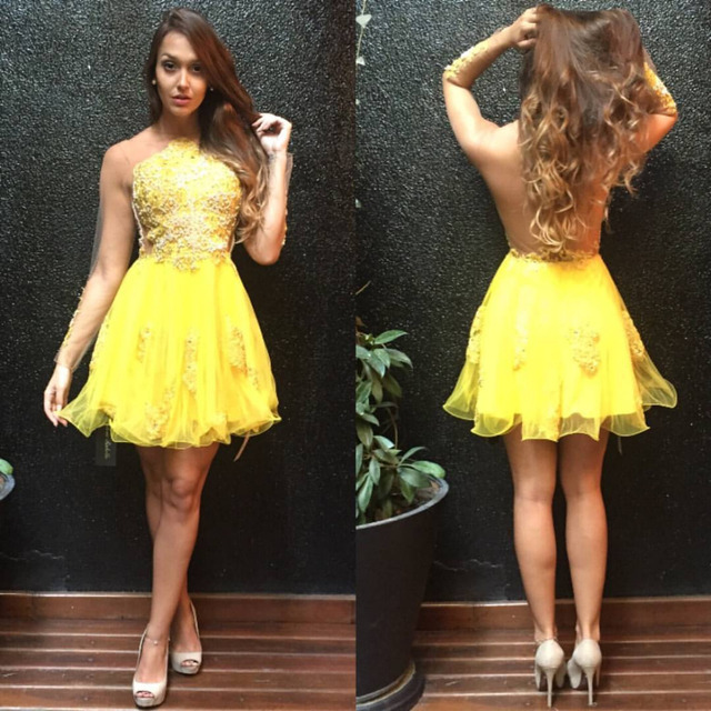 New Style Short Mili Prom Dresses Yellow One SHoulder With Lace ...