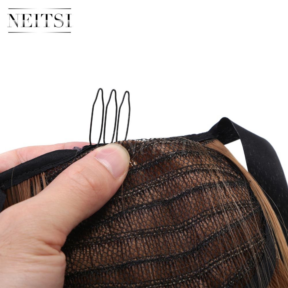 Купить с кэшбэком Neitsi Straight Long Clip In Hair Tail False Hair Ponytail Hairpiece With Hairpins Synthetic Hair 27#