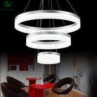 Modern Chrome Aluminium Ring Dimmable luminaria Led Chandelier Acrylic Diy Rings Led Pendant Chandelier For Foyer Dining Room