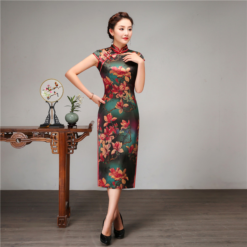 Royal Women Casual Daily Dress Chinese Style Print Flower Qipao 100% Silk Long Cheongsam Vintage Evening Party Dressing Gown - 6