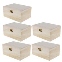 5pcs Rectangle Wood Box Unfinished Wooden Jewelry Storage Case Plain Organizer DIY Craft