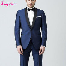 Linyixun 2018 Latest Coat Pant Designs Navy Blue Formal Skinny Prom Blazer Masculino Marriage Simple Gentle Custom Tuxedo 2 Piec(China)