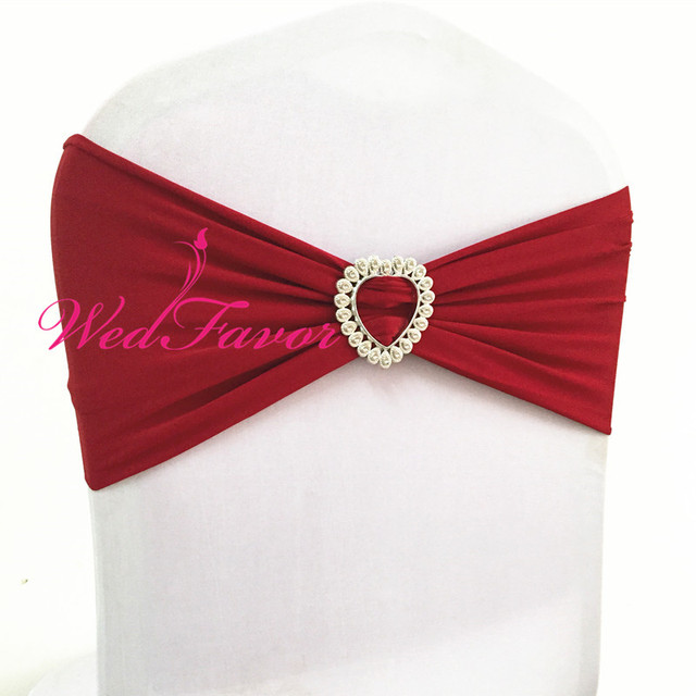 dark red chair sashes liberty 312 power battery wedfavor burgundy wedding decoration lycra ribbon band stretch bow tie spandex sash with heart buckle