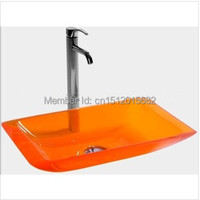 Free shipping Slim Rectangular Bowl counter top Basin Cloakroom Vanity Sink Bathroom Resin Acrylic Colored Wash Basin 2008