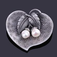 Женская винтажная металлическая брошь в форме сердца с пресноводным
