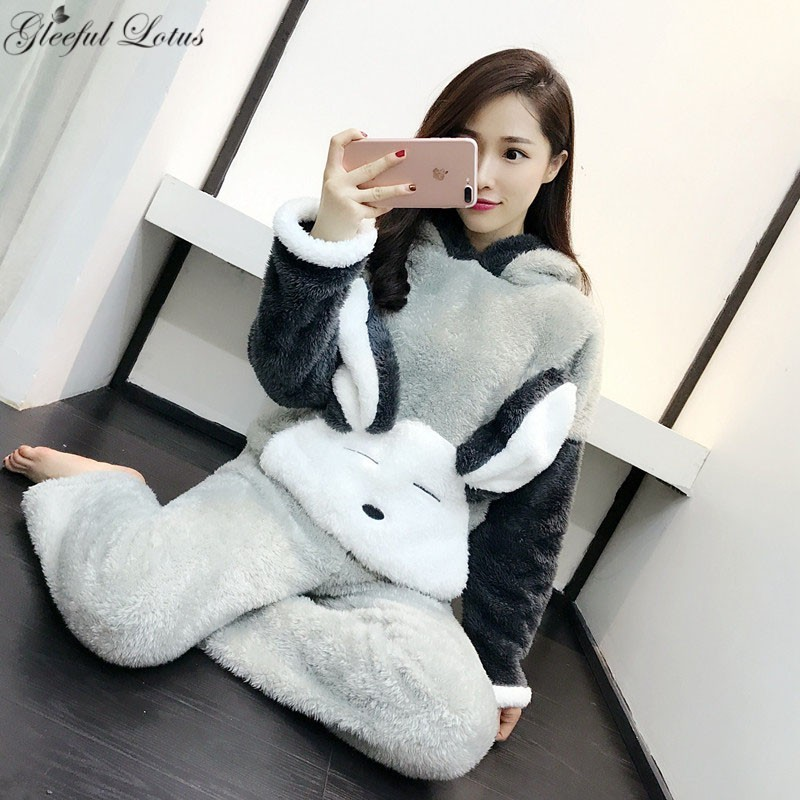 Pyjama polaire ensembles femmes hiver Pijama nuit costume Bugs Bunny Kigurumi Pyjama ensemble Kawaii vêtements de nuit vêtements de nuit vêtements de détente 2018 mignon