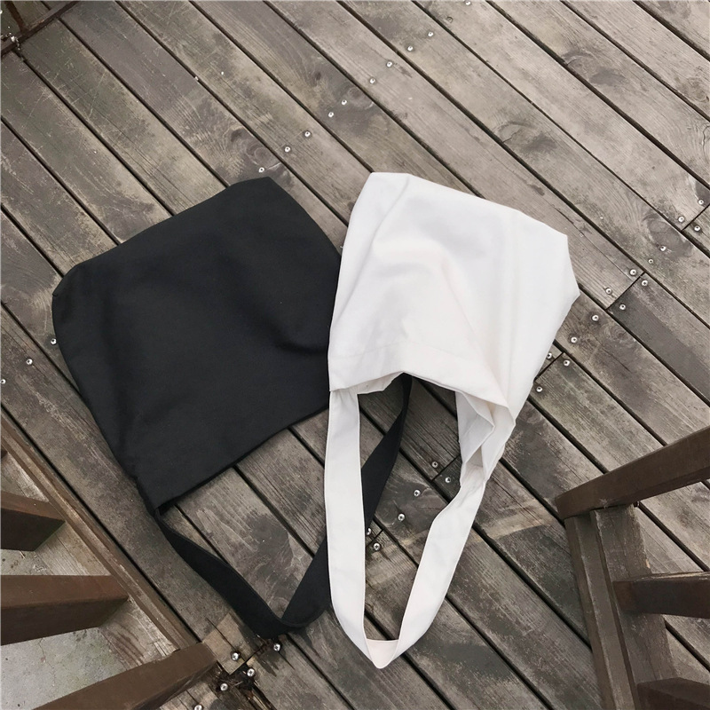 YILE Simple Canvas Solid Black White Eco Shoulder Tote Messenger Bag Magnetic Closed