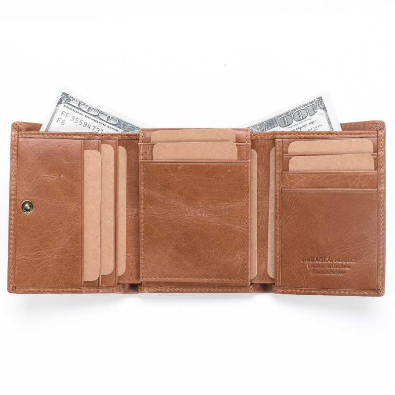 Для мужчин s этих кожаный кошелек Винтаж RFID Blocking Wallet кредитные карты держатель Организатор кошелек с Засов кошелек Для мужчин