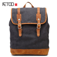 AETOO хлопок ретро воды холст мужчины женщины рюкзак плечи мешок компьютера мужчины рюкзак путешествия отдых хорошее качество рюкзаки