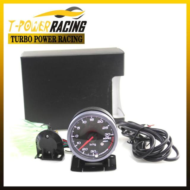 60MM Black FaceNo Logo  Boost guage(-30-30psi)  W/peak function /Auto Gauge/Tachometer/Racing meter/Turbo gauge meter