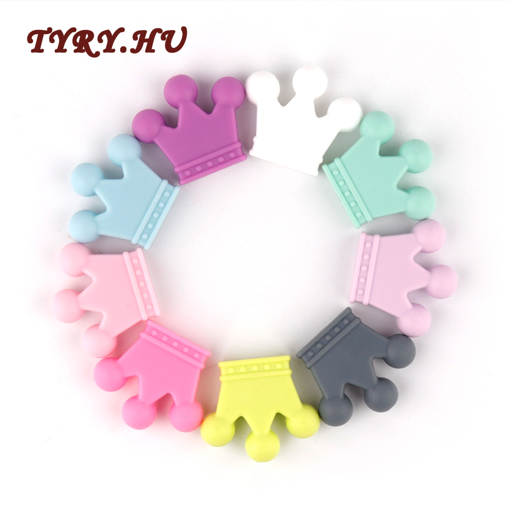TYRY.HU 5pc Crown Silicone Beads Teether Baby Teething Pendant Baby Ring Teether BPA Free Silicone Chew Charms Teething Toy Gift