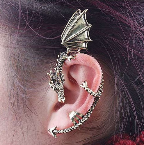 HOT SALE !The New Arrival Dragon Cuff Wrap Earring-alloy-Antique Silver tone-no piercing #DQlyt